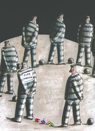 Prisoner walking with 'just arrested' sign on back