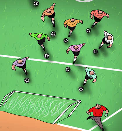 Soccer players storming goalpost with soccer balls