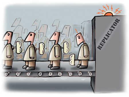 Conveyor belt with replicated businessmen robots