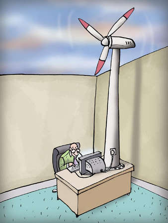 Businessman sitting at computer powered by wind turbine