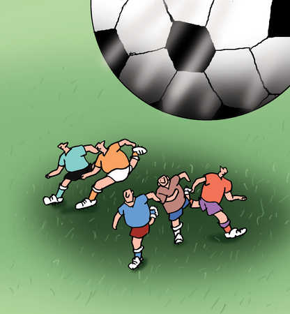Soccer players running from large soccer ball
