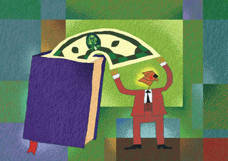 Businessman reaching for dollar in book