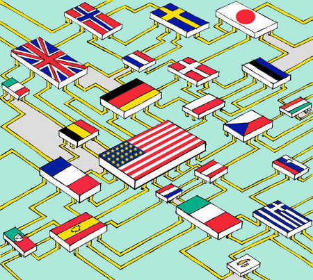 Computer motherboard with international flags