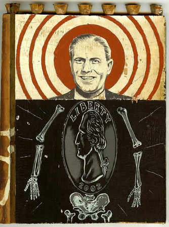 Portrait of businessman with skeleton and coin body