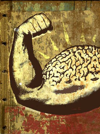 Man flexing bicep muscle shaped as a brain