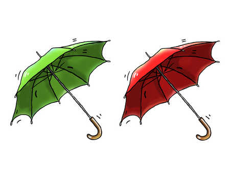 Illustration of a red and green umbrella