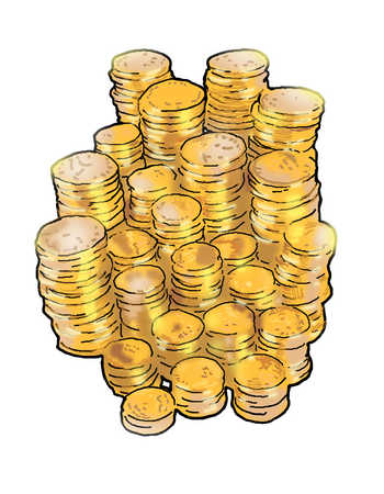 Illustration of stacks of coins