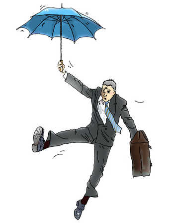 Businessman holding umbrella and briefcase in mid-air