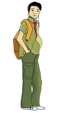 Teenage boy with backpack and headphones