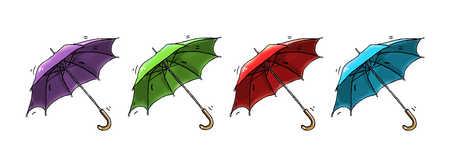 Illustration of multicolor umbrellas