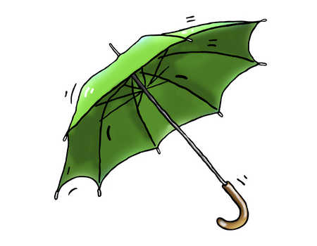 Illustration of green umbrella