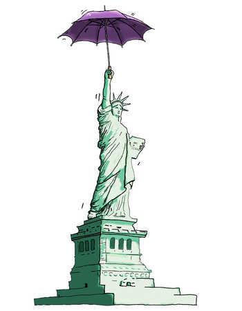 Illustration of Statue of Liberty holding purple umbrella