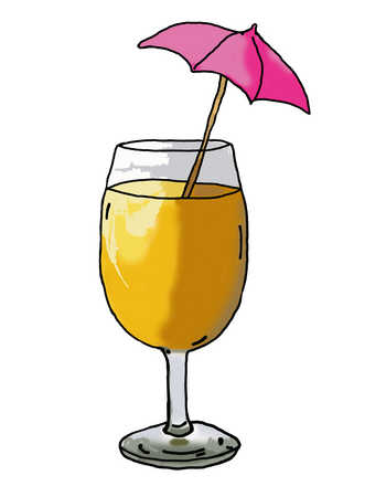 Illustration of beverage with cocktail umbrella