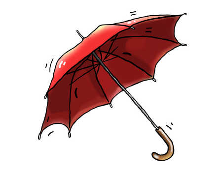 Illustration of red umbrella