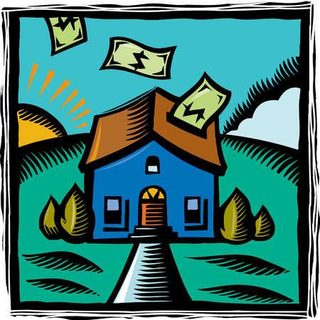 Illustration of money floating into house