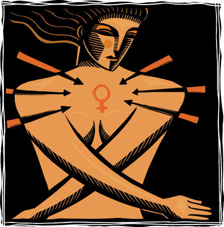 Nude woman with female symbol on chest