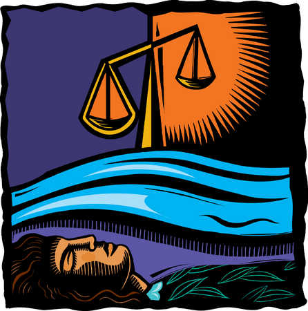 Woman sleeping under ocean and justice scales
