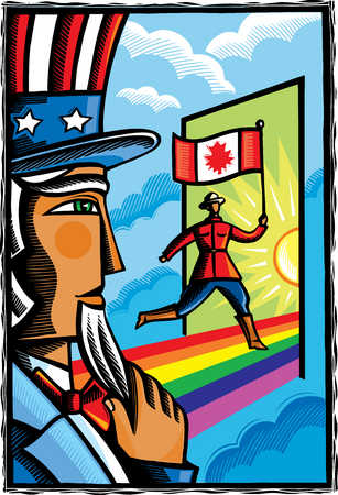 Uncle Sam watching Canadian with flag run through doorway
