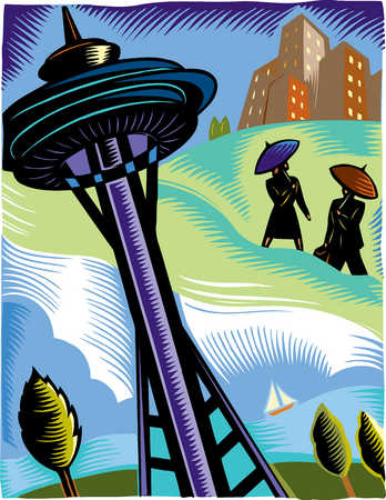 Business people meeting near Space Needle