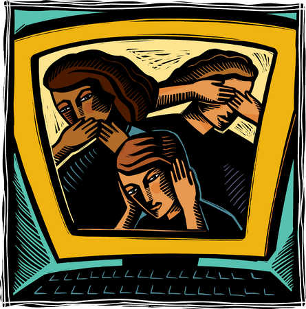 Young adults covering ears, eyes and mouth on computer monitor