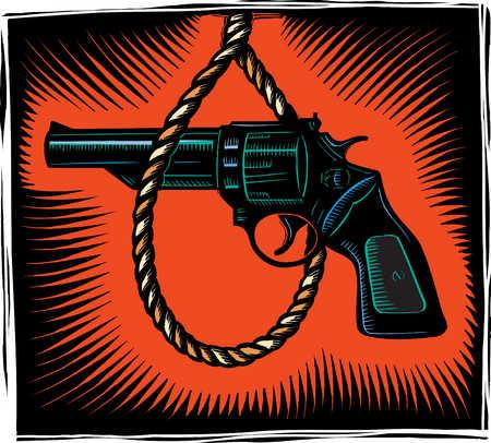 Close up of noose around gun