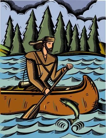 Explorer paddling canoe down river