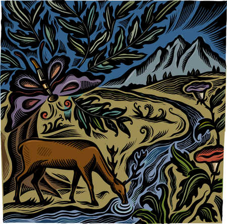 Painting of deer drinking from stream