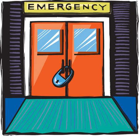 Padlocked emergency room doors