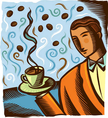 Waiter holding steaming cup of coffee