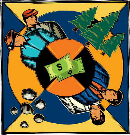 Money wheel between miners and businessmen