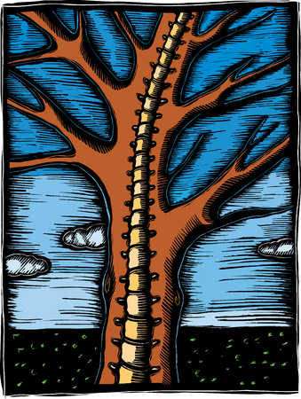 Illustration of tree with spine