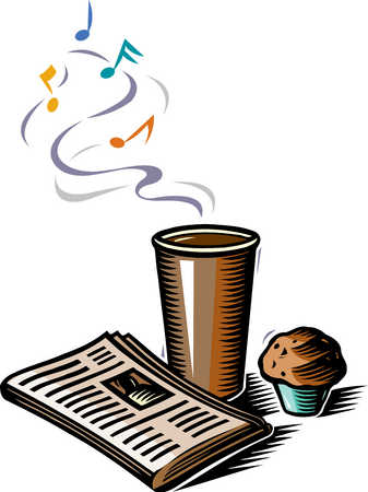 Illustration of coffee cup, magazine, and muffin
