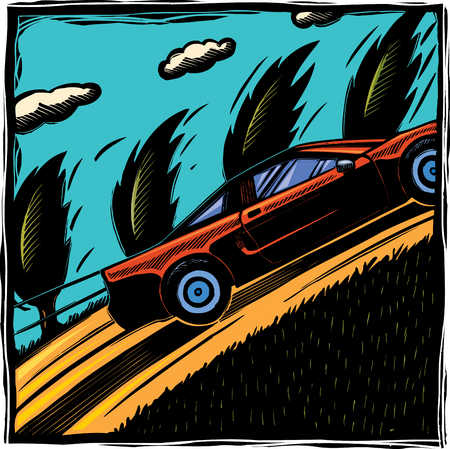 Illustration of sports car ascending hill