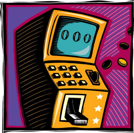 Money depositing into slot machine