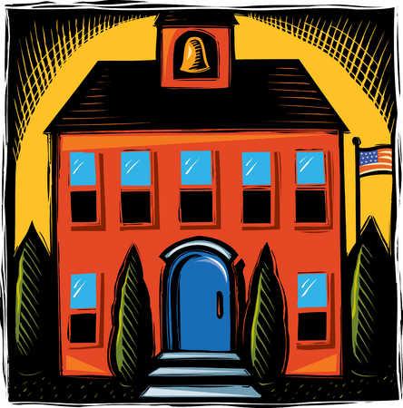 Illustration of schoolhouse