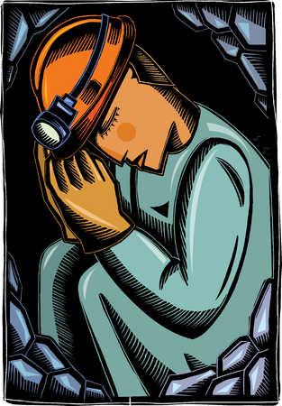 Trapped miner praying