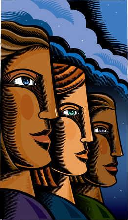 Close up of three multi-ethnic women