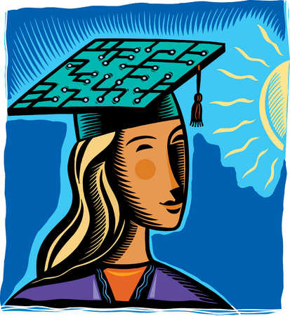 Graduate with circuit board on mortarboard