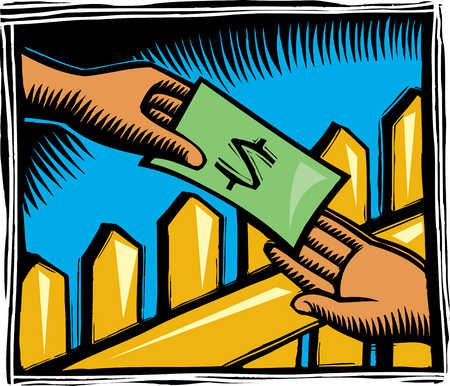 Hands exchanging money across fence