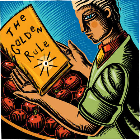 Man holding book titled, 'The Golden Rule'