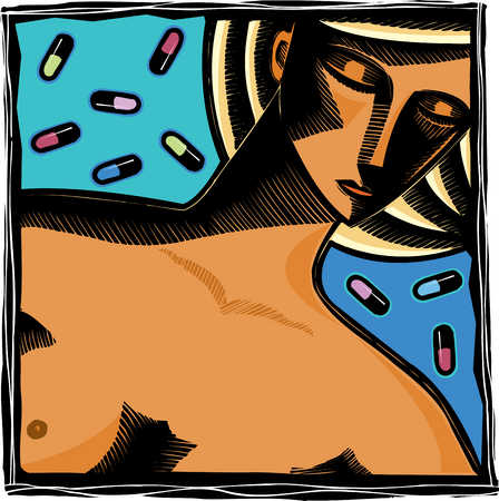 Close up of nude woman with medication in background