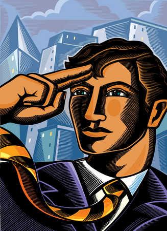Close up of businessman saluting