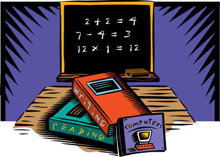 Illustration of textbooks and blackboard with equations