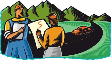 Surveyors viewing winding road