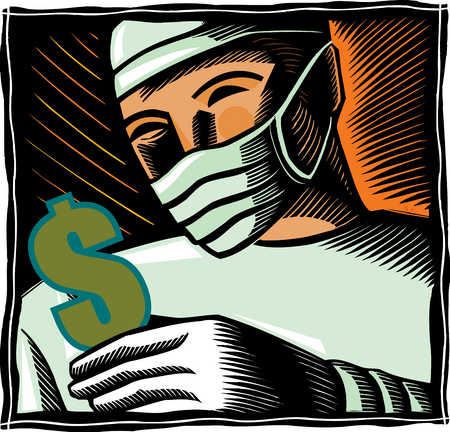 Close up of surgeon holding dollar sign