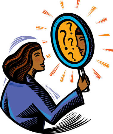 Stock illustration woman looking into mirror with for Mirror questions