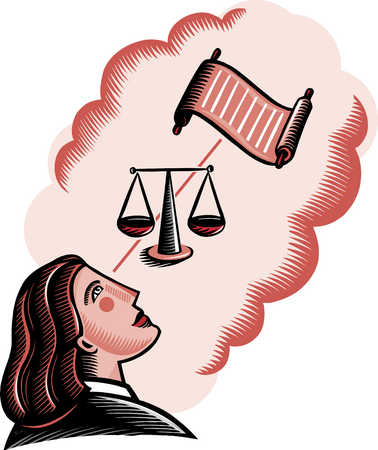 Female judge looking up at scroll and justice scales