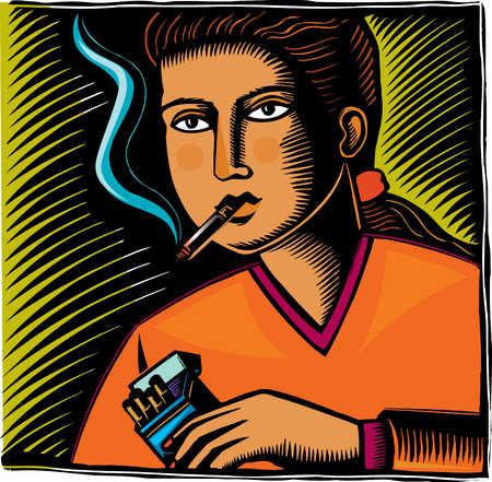 Close up of teenage girl smoking