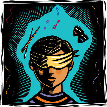 Blindfolded boy with arts images overhead