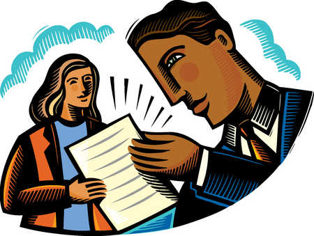 Man and woman reviewing paperwork
